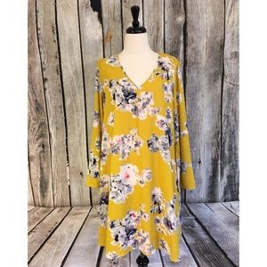 PinkBlush Yellow Floral Bell Sleeve Swing Dress